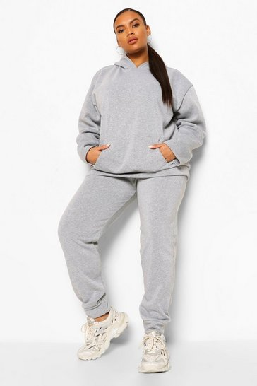 Grey Plus Fleece Loopback Hoodie And Jogger