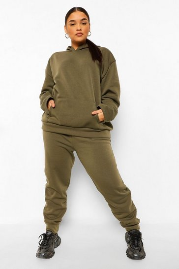 Khaki Plus Fleece Loopback Hoodie And Jogger