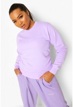 Lilac purple Plus Acid Wash Sweatshirt