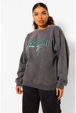 "Plus Sweatshirt mit ""Missouri""-Print in Batik-Optik, Anthrazit grau"