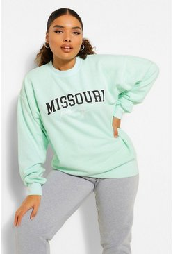 "Plus Sweatshirt mit ""Missouri""-Print in Batik-Optik, Salbeigrün grün"