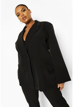 Black Plus Oversized Detail Pocket Detail Blazer
