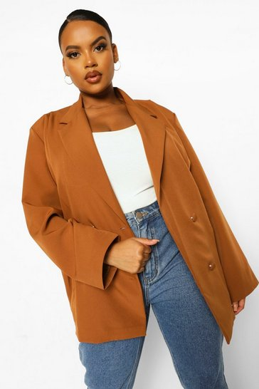 Camel beige Plus Oversized Detail Pocket Detail Blazer
