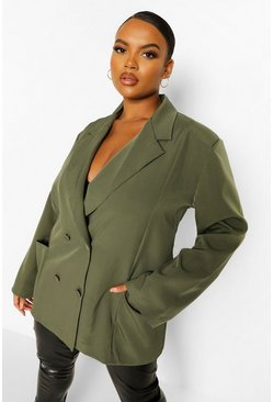 Khaki Plus Oversized Detail Pocket Detail Blazer