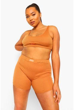 Caramel beige Plus Official Rib Bralet and Boxer Set