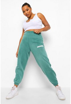 Teal green Plus Woman Acid Wash Jogger