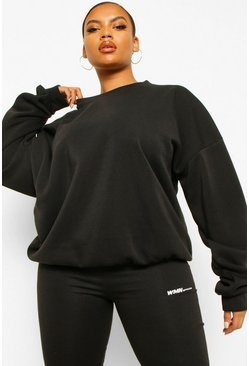 Black Plus Fleece Loopback Oversized Sweat