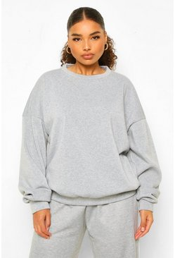 Grey Plus Fleece Loopback Oversized Sweat