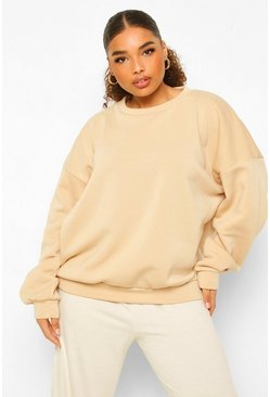 Stone beige Plus Fleece Loopback Oversized Sweat