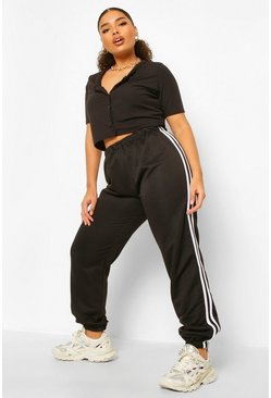 Black Plus Stripe Side Joggers