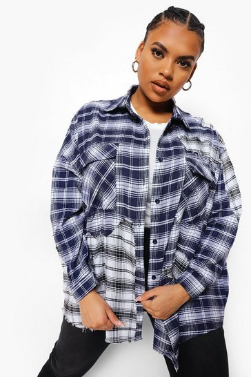 Navy Plus Distressed Check Boyfriend Shirt