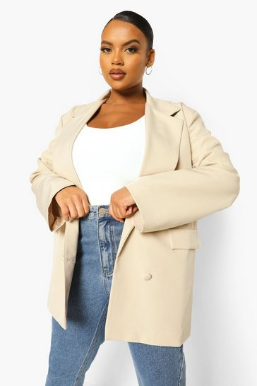 Stone beige Plus Boxy Oversized Double Breasted Blazer