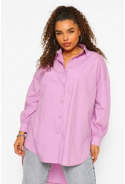 Lila purple Plus Oversized Blouse Met Lange Achter Zoom