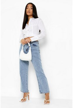 Mid blue Petite Acid Wash Split Hem Straight Leg Jean