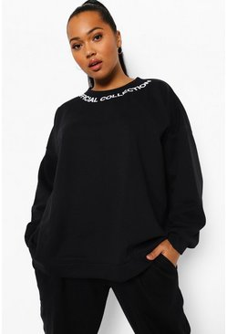 Black Plus Official Neck Print Sweatshirt
