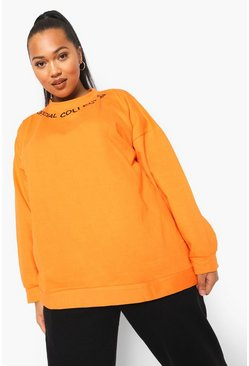 Orange Plus Sweater Met Halsopdruk