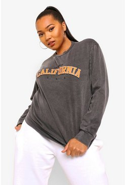 Black Plus Acid Wash California Oversized Sweatshirt