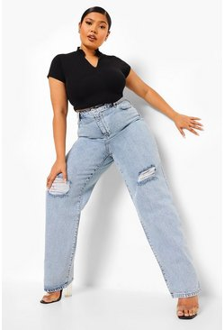 Vintage blue blue Plus Vintage Wash Rip Knee Boyfriend Jean
