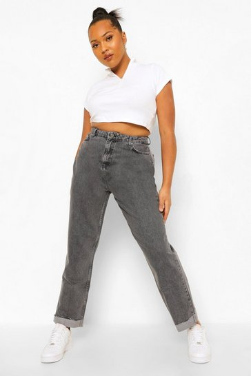 Plus Vintage Wash Turn Up Raw Hem Mom Jean