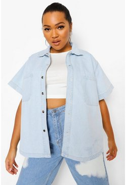Vintage blue blue Plus Oversized Short Sleeve Denim Shirt