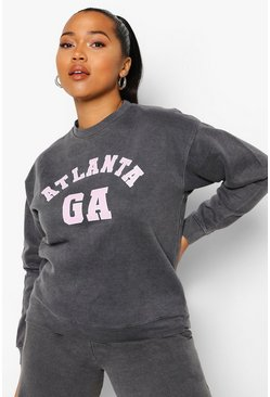 Black Plus Acid Wash Atlanta Sweatshirt