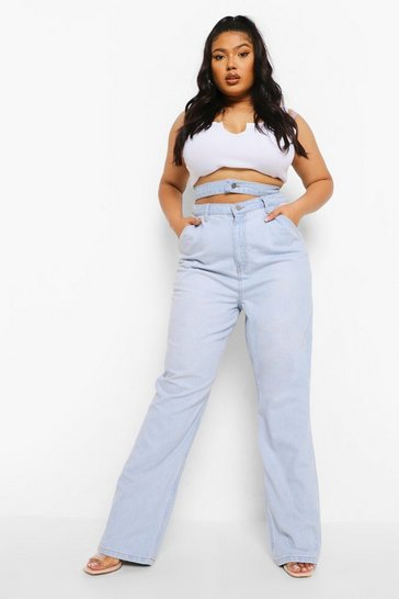 Vintage blue blue Plus Waistband Detail Straight Leg Jean