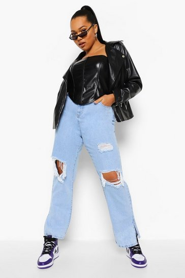 Ice blue Plus Acid Wash Knee Rip Split Hem Jean
