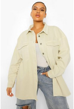 Stone beige Plus Pocket Through Denim Oversized Shirt