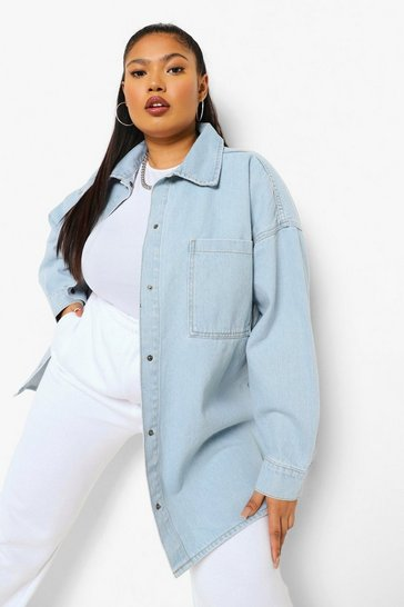 Light blue blue Plus Rigid Denim Oversized Shirt