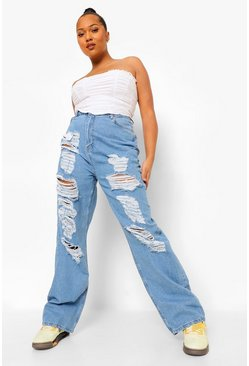 Light blue blue Plus Extreme Distressed Boyfriend Jean