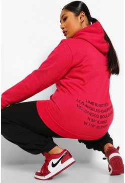 Hot pink pink Plus Limited Edition Back Oversized Hoodie