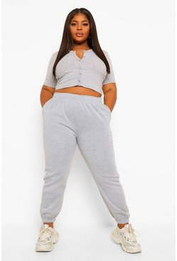 Grey Plus Fleece Loopback Jogger