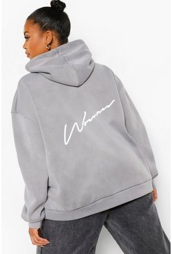 Plus Woman Back Print Acid Wash Oversized Hoodie , Black noir
