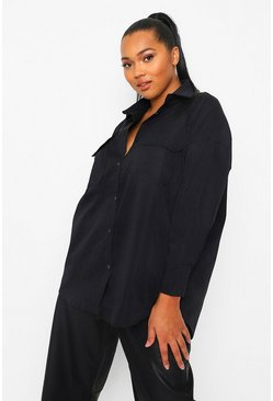 Black Plus Pocket Front Oversized Shirt