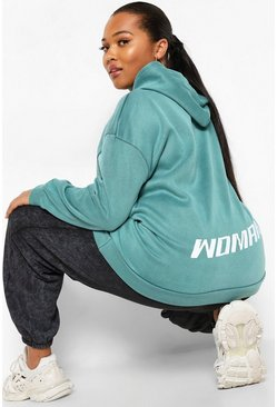 Plus Woman Back Print Acid Wash Oversized Hoodie , Teal vert