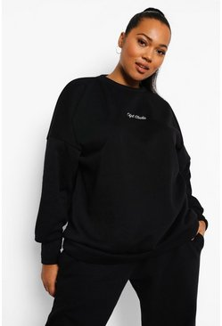 Black Plus Oversized Geborduurde Studio Sweater