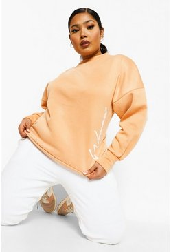 Rust orange Plus Woman Acid Wash Oversized Sweatshirt