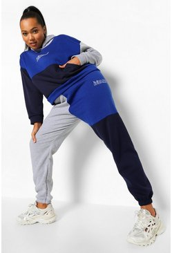 Grey Plus Woman Colour Block Tracksuit