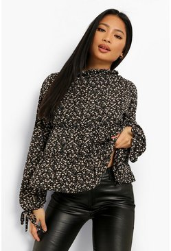 Black Petite Floral High Neck Long Sleeve Blouse