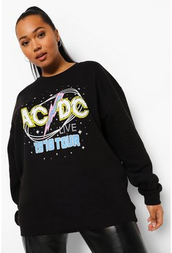 Black Plus Retro Acdc Licensed Sweatshirt