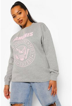 Grey Plus Pastel Ramones Licensed Sweatshirt