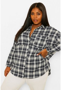 Navy Plus Check Oversized Boyfriend Shirt