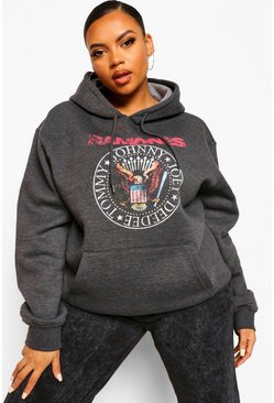 Charcoal grey Plus Gelicenseerd Oversized Ramone Hoodie
