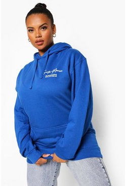 Royal blue Plus West Coast Print Hoodie