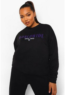 Black Plus Oversized Worldwide Sweater