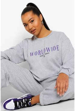 Grey Plus Oversized Worldwide Sweater