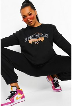 Black Plus Georgetown Varsity Sweater Met Tekst