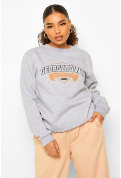 Grey Plus Georgetown Varsity Sweater Met Tekst