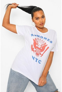White Plus Ramones Baseball Oversized T-shirt