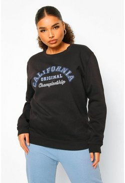 Black Plus California Varsity Sweater Met Tekst